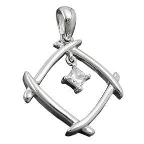 Anhänger-Viereck-durchbrochen-Zirkonia-925-Silber