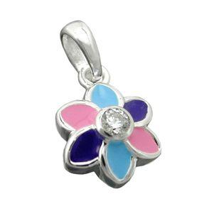 Anhänger Blume 925 Sterling Silber multicolor blau-lila-pink Kinder