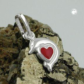 Anhänger-Delfin-mit-rotem-Herz-925-Silber