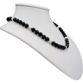 Kette Collier Halskette aus Onyx & Perlen, 925 Silber, schwarz-weiß