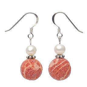 Ohrringe aus Schaumkoralle und Perlen und Silber