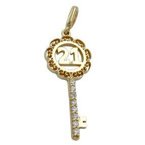 Anhänger-Schlüssel-Zahl-21-375-Gelbgold