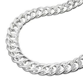 Doppelpanzer Halskette Collier aus Echt Silber 925, L: 42cm