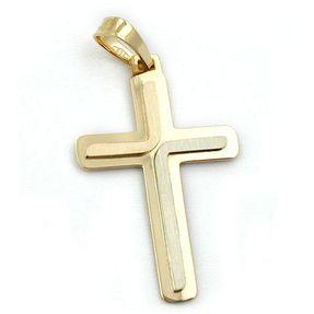 Anhänger Kreuz aus 585 Gelbgold Weißgold Rotgold, massiv, 3-farbig