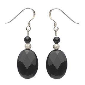 Ohrringe Ohrhänger aus Onyx oval schwarz facettiert & 925 Silber elegant Damen