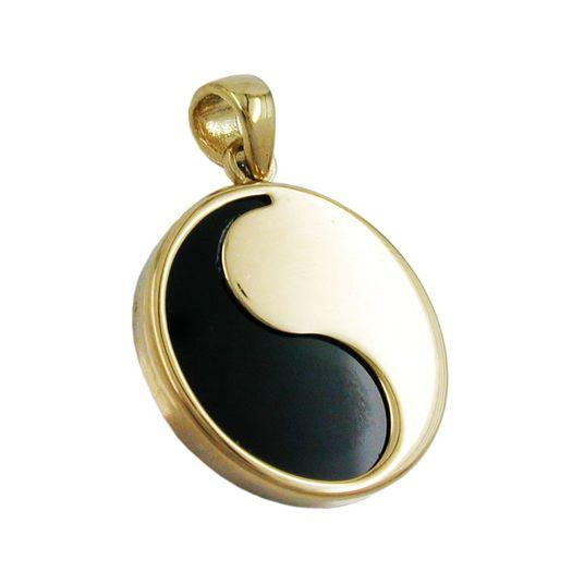 Anhänger-Yin-Yang-Onyx-9Kt-GOLD