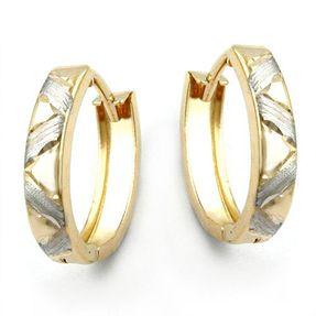 Creole Ohrringe Ohrschmuck bicolor diamantiert 375 Gold