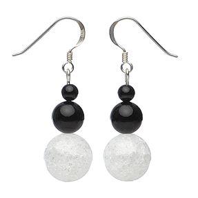 Ohrringe Ohrhänger aus Onyx & Bergkristall, 925 Silber, schwarz-weiß