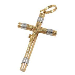 Kreuz mit Jesus, Anhänger Goldanhänger Goldkreuz aus 333 Gold, bicolor