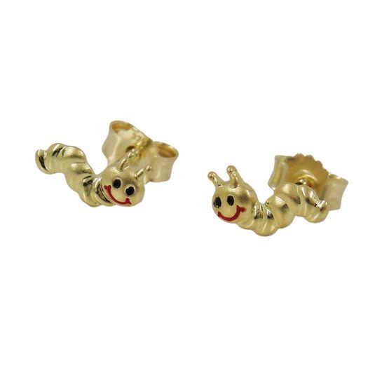 Stecker-Raupen-matt-glänzend-9Kt-GOLD