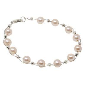 Armband aus echten Perlen, creme-rosa, Perlenarmband, Damen