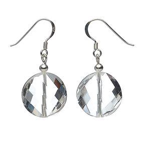 Ohrringe Ohrhänger aus reinem Bergkristall & 925er Silber, facettiert