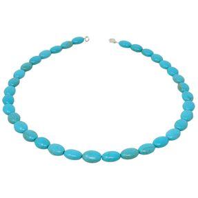 Kette Collier aus Türkis-Howlith, oval, Halsschmuck Halskette schlicht