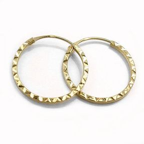 Creole Ohrringe Ohrschmuck aus 375 Gold Gelbgold diamantiert, Damen
