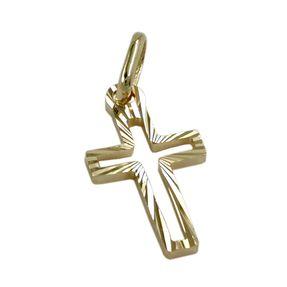 Kreuz, Anhänger Kettenanhänger, diamantiert, aus 585 Gold Gelbgold