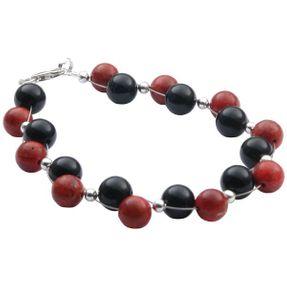 Armband, Koralle Schaumkoralle & Onyx & 925 Silber, rot-braun schwarz Vorschau