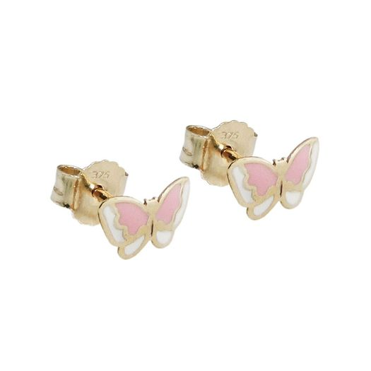 Ohrstecker-Schmetterling-rosa-375-Gold-Kinder