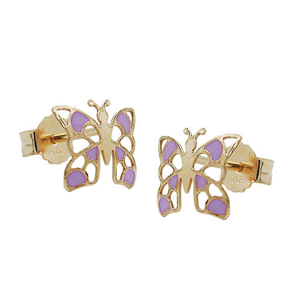 Ohrstecker ohrringe schmetterling lila lackiert 375 gold - 375 gold ...