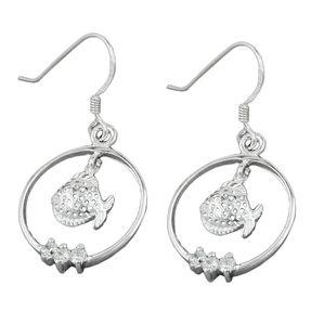 Ohrhänger Ohrringe, Fisch Fische im Ring, mit Zirkonia, 925 Silber