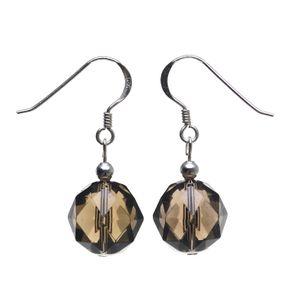 Ohrringe Ohrhänger aus Rauchquarz braun & 925 Silber, facettiert