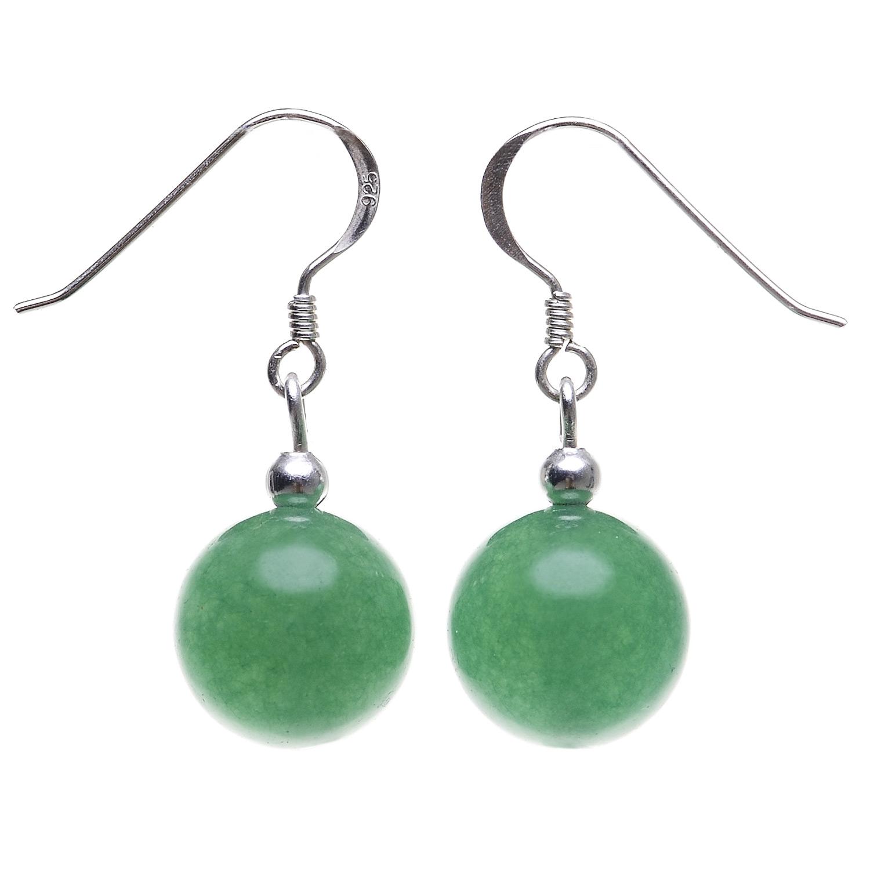 Edelstein Ohrringe Ohrhänger Earrings 12 mm grüner Achat mit 925 Silber Ohrhaken