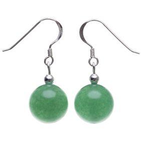 Ohrringe Ohrhänger aus Jade Kugel grün & 925 Silber Ohrschmuck Ohrhaken Vorschau
