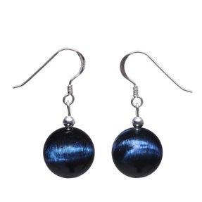 Ohrringe Ohrhänger blaue Tigerauge Katzenauge dunkelblau & 925 Silber Vorschau