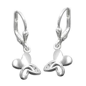 Ohrhänger Ohrringe, Schmetterling Schmetterlinge, 925 Silber, Zirkonia