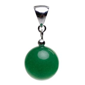 Anhänger aus Jade Kugel glatt grün & 925 Silber, Edelstein Kettenanhänger