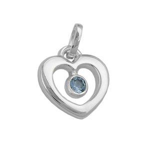Anhänger Herz mit Blautopas hellblau, 925 Echt Silber, Silberanhänger