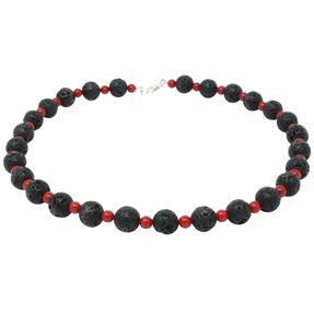 Collier-Lava-Koralle-schwarz-rot