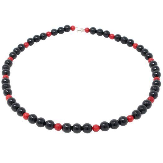 Kette-aus-Onyx-und-Koralle-schwarz-rot