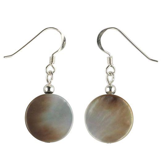 Ohrhaenger-aus-Perlmutt-und-925-Silber-rund-flach-grau