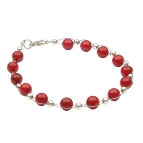 Armband aus echter Bamboo-Koralle rot Armschmuck Armkette Damen