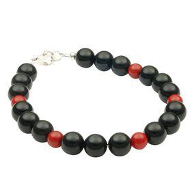 Armband aus Onyx & Koralle, 925 Silber, schwarz rot, 20cm Armkette Armschmuck