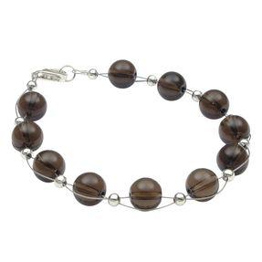 Armband aus echtem Rauchquarz braun, 925 Silber Armkette Armschmuck für Damen