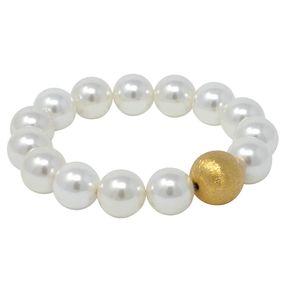 Kugel-Armband Perlen Muschelkernperlen weiß 925 Silber vergoldet endlos dehnbar