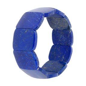 Armband aus Edelstein Lapis-Lazuli 25mm breit Naturstein blau glatt dehnbar Ø6cm