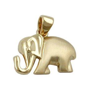 Anhänger Elefant aus 375 Gold Gelbgold, matt-glänzend, Goldanhänger