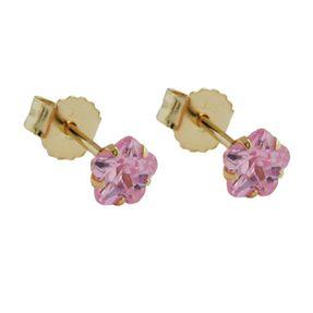 375 ECHT GOLD *** Kleine Ohrstecker Blume Zirkonia pink 4 mm