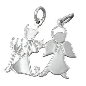 Anhänger Engel und Teufel - Doppelanhänger mit 2 Ösen, 925 Silber