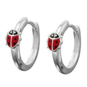 Creolen-Marienkäfer-rot-schwarz-925-Silber