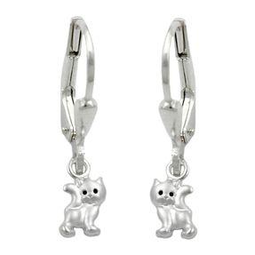 Ohrringe-Brisur-Katzen-925-Silber-Kinder