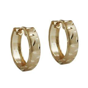 Ohrringe Creole Creolen, vorn matt diamantiert aus 375 Gold für Damen