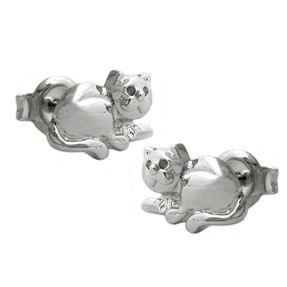 Ohrstecker-Katze-rhodiniert-925-Silber-für-Damen