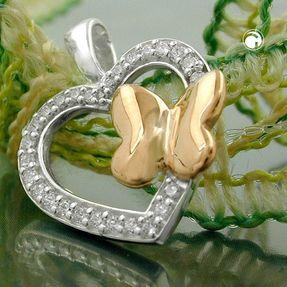 Anhänger-Herz-925-Silber-Schmetterling-vergoldet