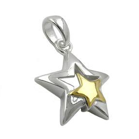 Anhänger-2-Sterne-bicolor-925-Silber-für-Damen