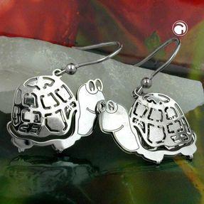 Ohrhaken-Schildkröte-aus-echtem-925-Silber-Kinder