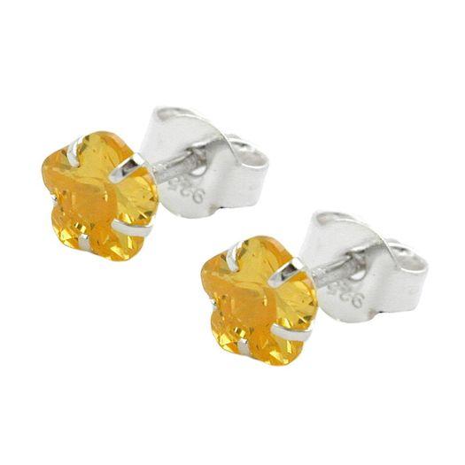 Ohrstecker-Blume-gelb-Zirkonia-Citrin-925-Silber