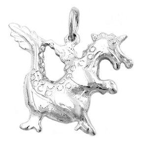 Anhänger, kleiner Drache, glänzend, echtes 925 Silber, für Damen